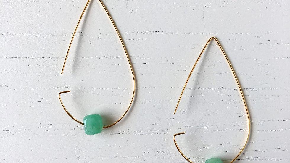 Brass Tear Drop Threader Earrings - Jade