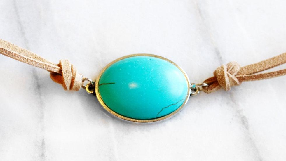 Rachel Oval Pendant Necklace with Vegan Suede