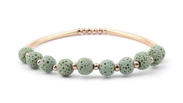 Lava Stone Essential Oil Bracelet - Light Green Lava Stone and Gold
