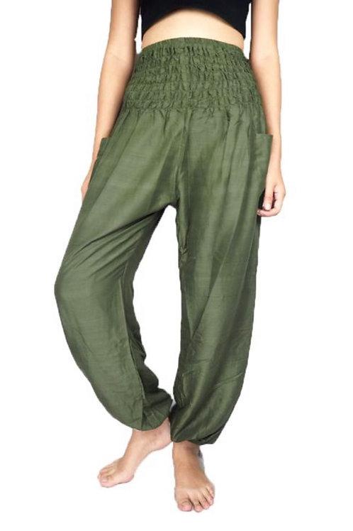 Olive Green Solid Harem Pants