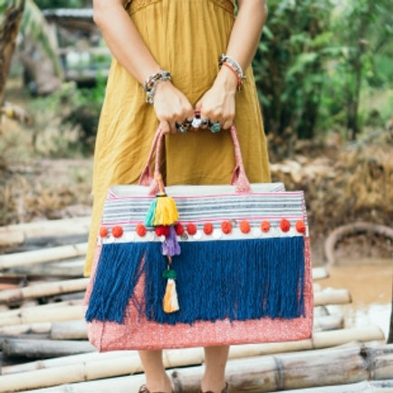 Fringe Tote Bag for Women, Handcrafted Ethnic Beach Boho Bag
