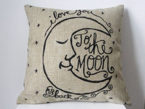 Love You to the Moon Pillow Cover