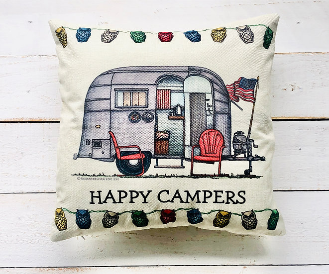Happy Camper Pillow Cover