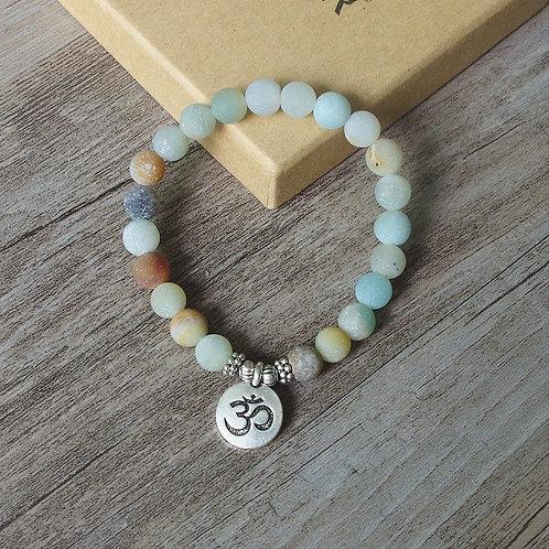 Amazonite Stone OM Buddah Chakra Mala Bracelet