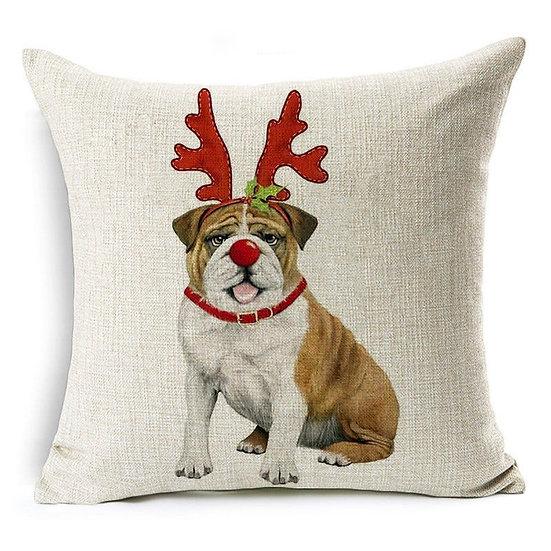 Bull Dog Christmas Pillow Cover