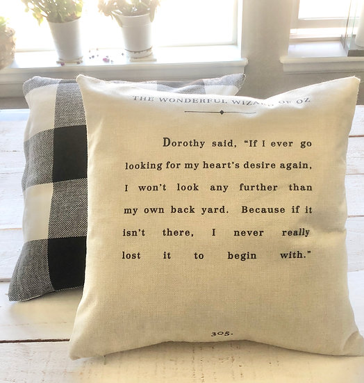 Wizard of Oz Vintage Book Pillow Cover