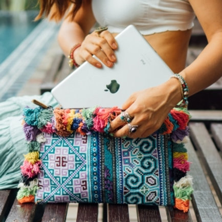 One of a Kind Cosmetic Bag, Tassels IPAD Case with Vintage Hmong Embroidery