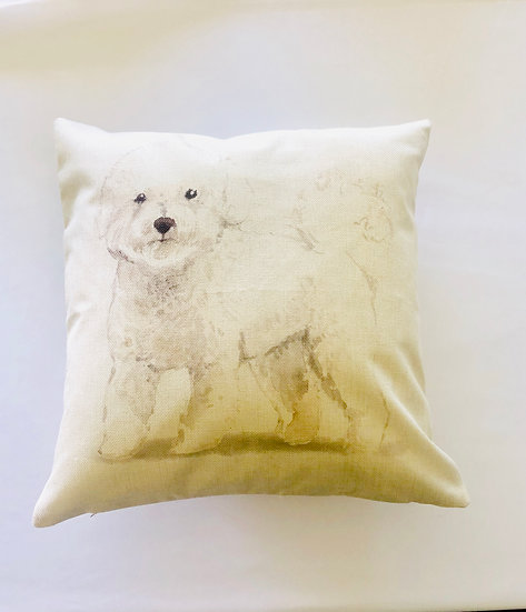 White Poodle Pillow Cover