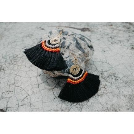 Black Fringe Tassle Earrings