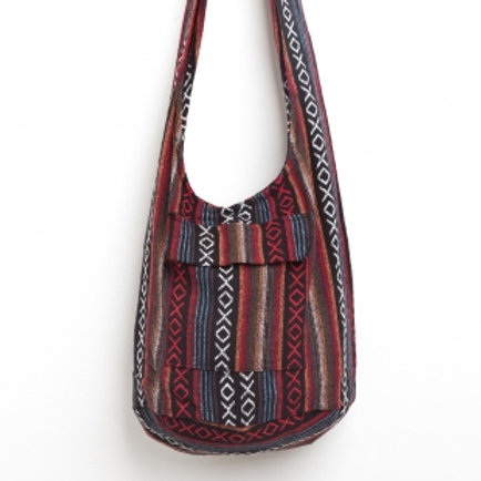 Hippie Sling Crossbody Bag with Naga Tribes Woven Fabric