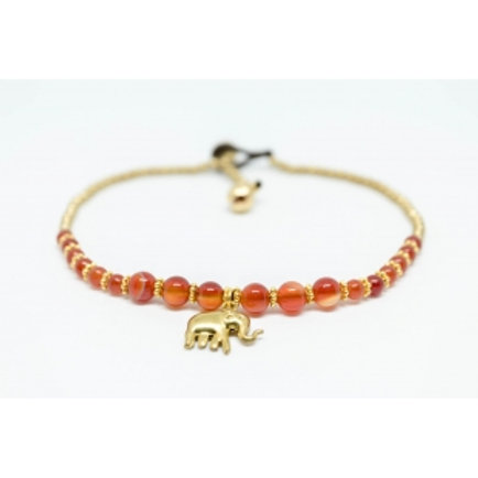Orange Stone Elephant Anklet