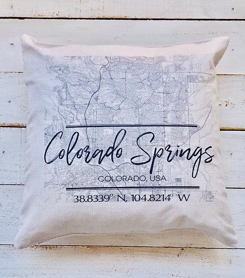 Colorado Springs Map Pillow Cover