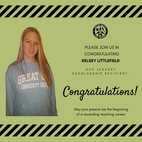 January 2020 scholarship winner