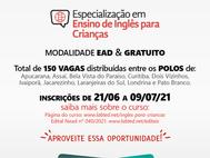Novo edital: Especialização em Ensino de Inglês para Crianças
