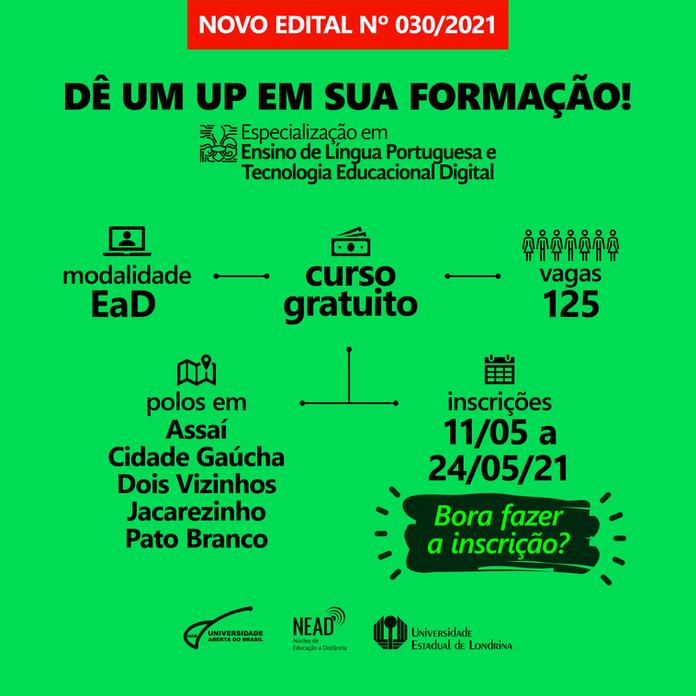 Novo edital: Especialização em Ensino de Língua Portuguesa e Tecnologia Educacional Digital (ELPTED)