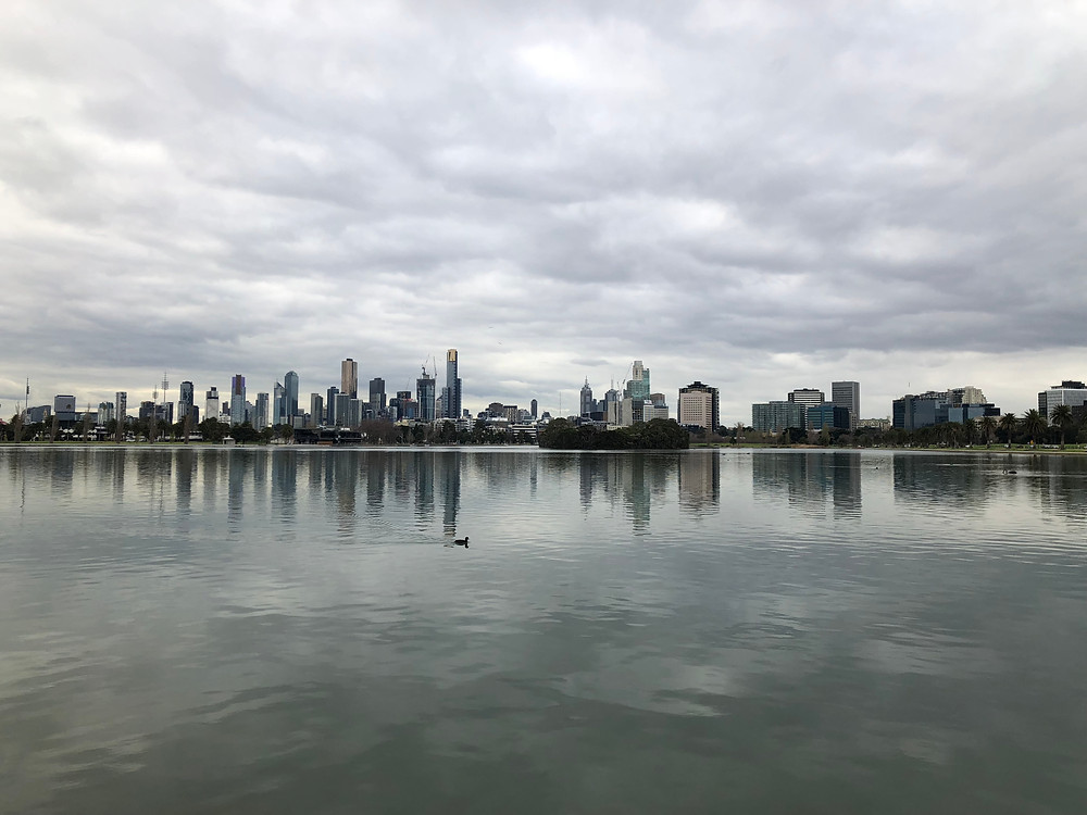 City skyline view across the lake