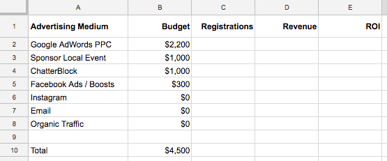 spreadsheet example setting up your marketing tracking