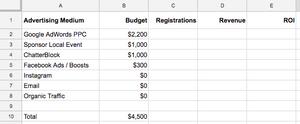 spreadsheet example setting up your marketing tracking