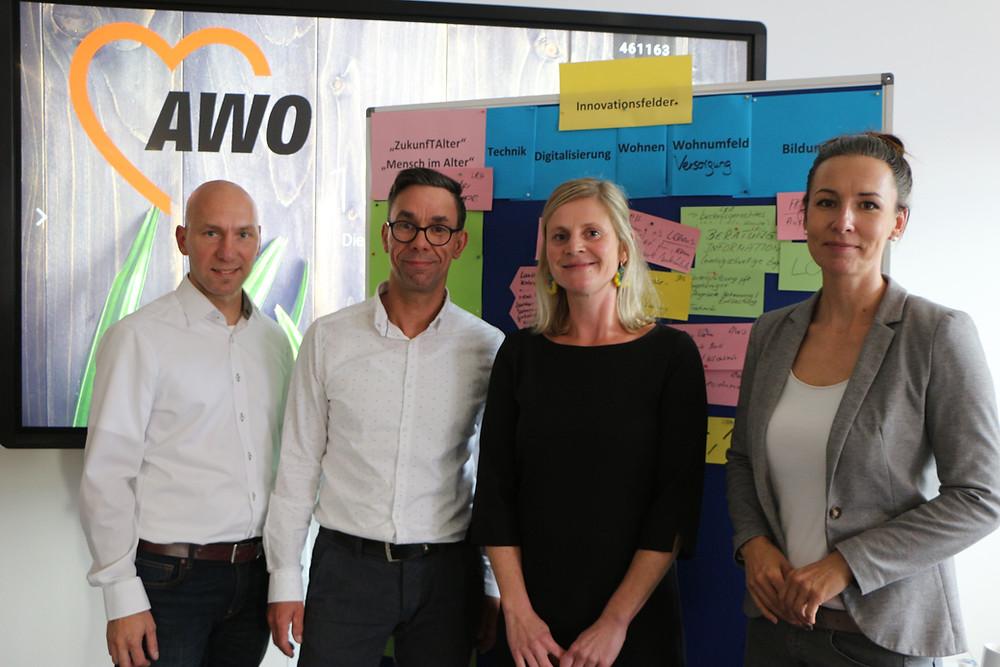 Das Kernteam von ZukunfTAlter: Marcus Beier, Yves Tschentscher, Kristina Barczik und Alexander Brylok.