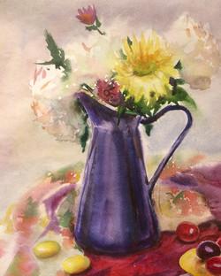 Bouqet in blue vase
