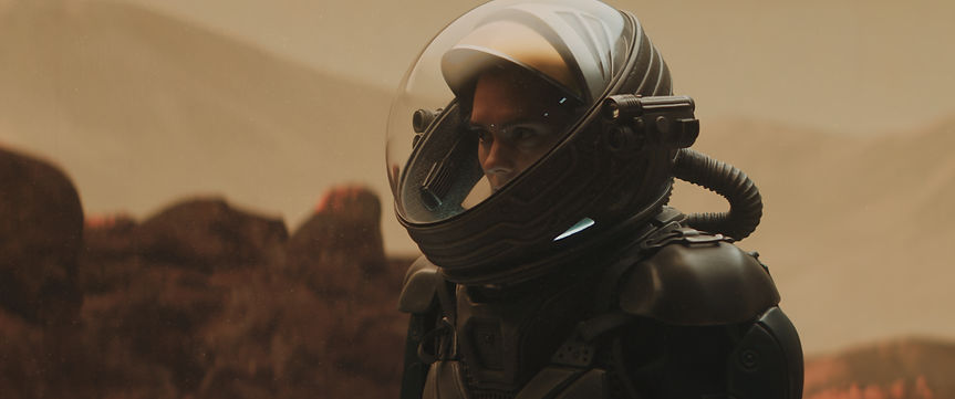 Caucasian female astronaunt wearing a sp