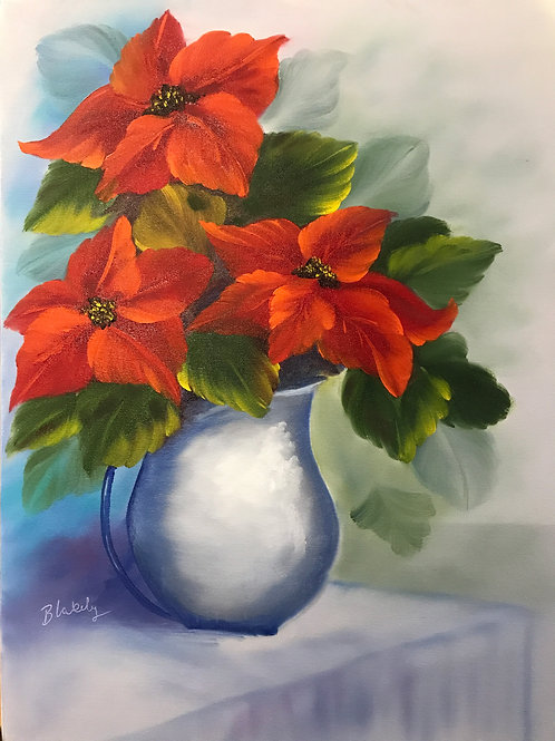 Poinsettias in a vase