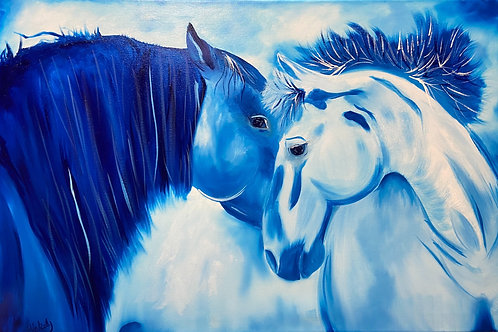 Horses done in blue