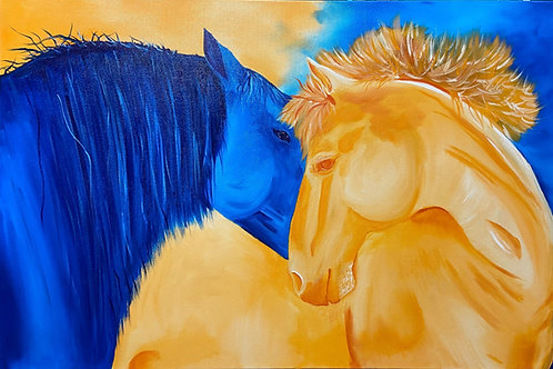 Blue and Orange Horses
