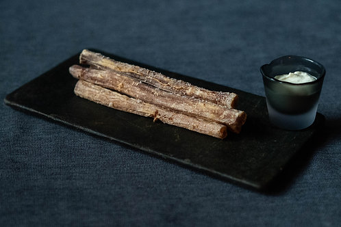 Frites de salsifis  crème de panais  5 pièces