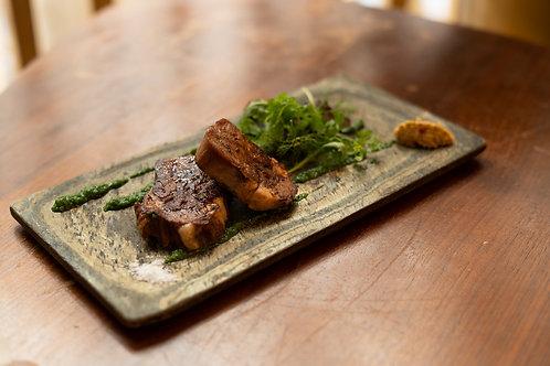 Langue de veau grillée (4 tranches) • assortiment d'herbes