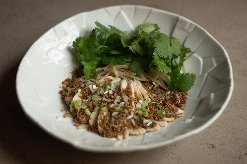 Yodaredori suprême de poulet poché pousse de soja, coriandre  10 tranches