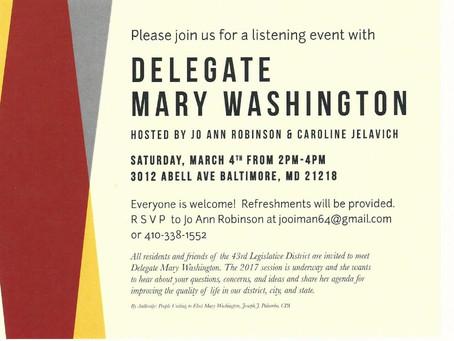 Neighborhood Listening Party with Mary Washington