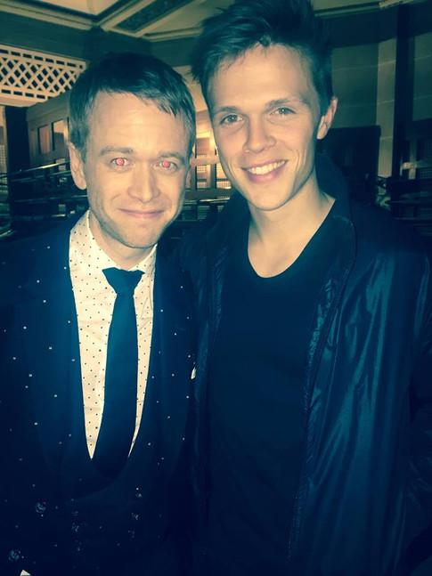 Dan Olsen with showbiz editor Alistair Foster from Evening Standard.jpg