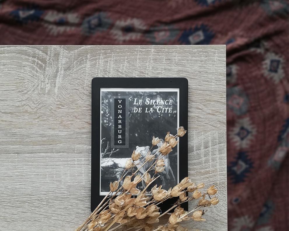 Une liseuse montrant la couverture du livre est posée sur un meuble en bois à côté d'un bouquet de fleurs séchées, avec un tissu aux tons chauds à l'arrière-plan.
