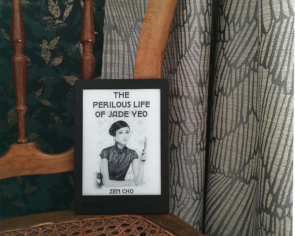 une liseuse affichant la couverture du livre est posée sur une chaise cannée ancienne, devant des rideaux bleu-gris.