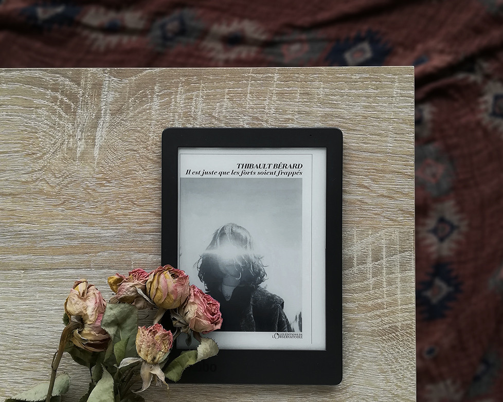 an e-reader showing the cover of the book laying on a wooden table next to a bunch of dried roses, with a patterned cloth in the background.
