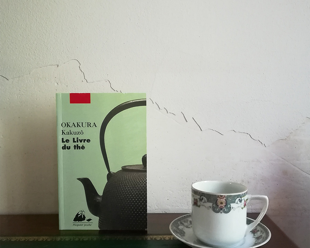 The book is propped up on a table next to a dainty teacup and its saucer. The white wall behind is cracked.