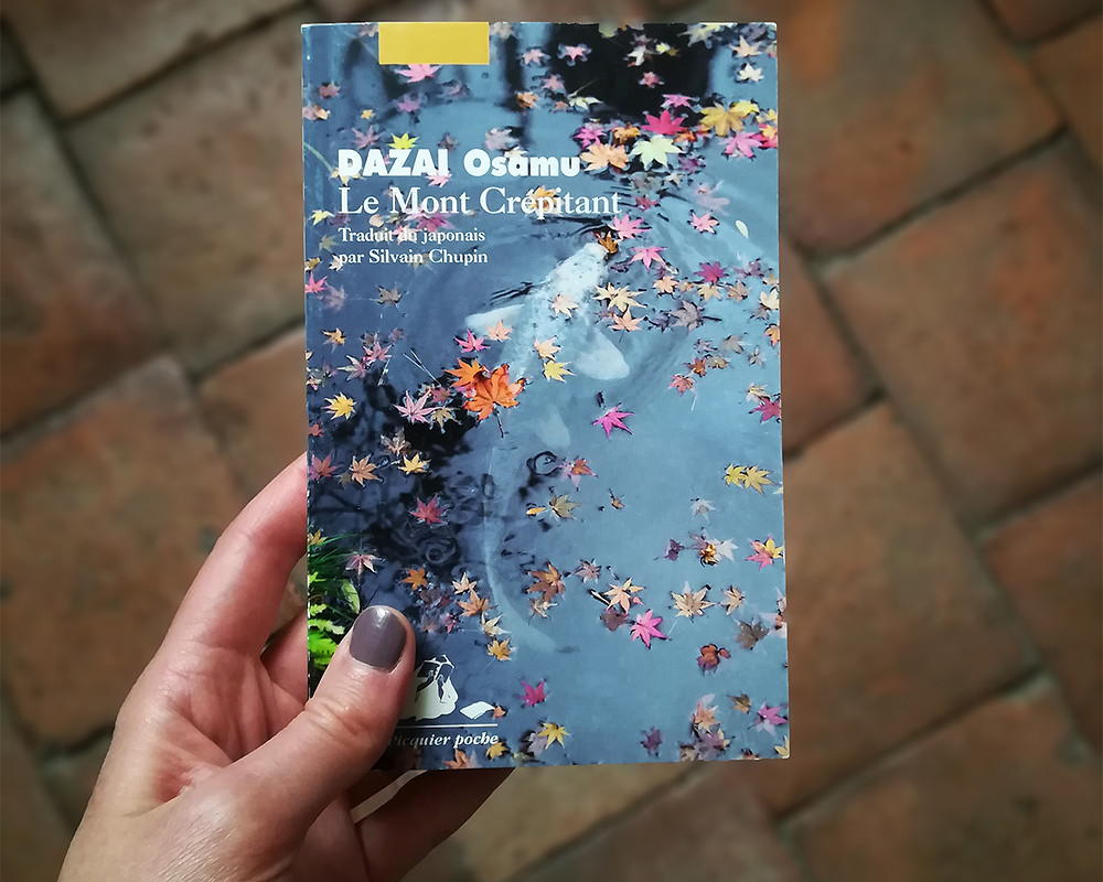 Awhite hand holds the book above a background of reddish tiles. The cover shows the surface of a pond sprinkled with maple leaves, under which a fish is swimming.
