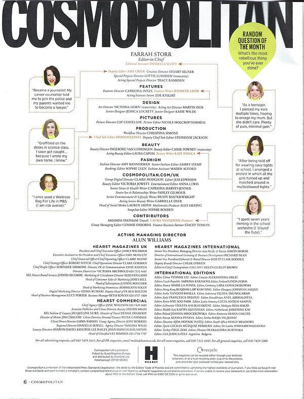 Cosmopolitan UK June 2019 Staf List