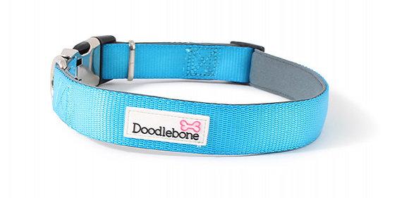 Doodlebone Padded Bold Collar in Cyan