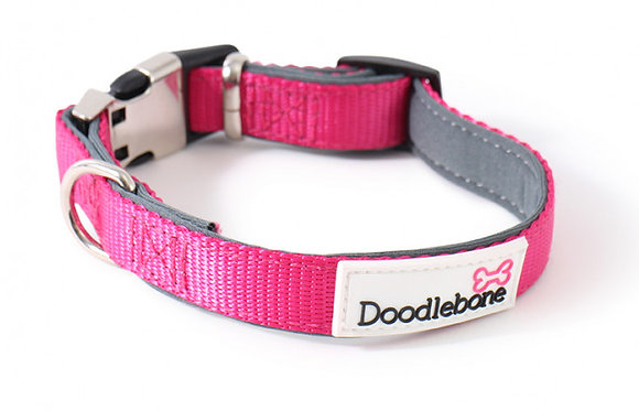 Doodlebone Padded Bold Collar in Neon Pink