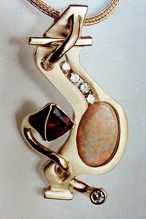 Gold Pendant with Australian Opal, Garnet, channel set diamonds