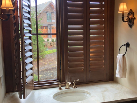 Stained wood shutters with odd size