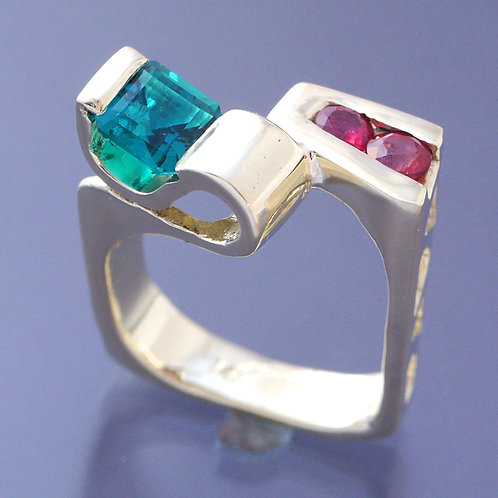 Square Design with HydroThermal Manmade Emerald and Red Sapphires
