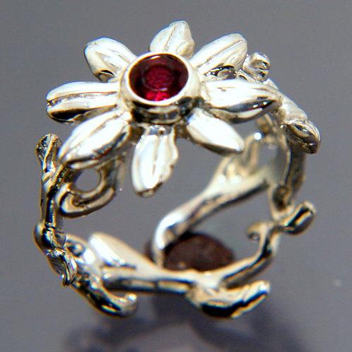 Sterling Silver Flower Garnet Ring