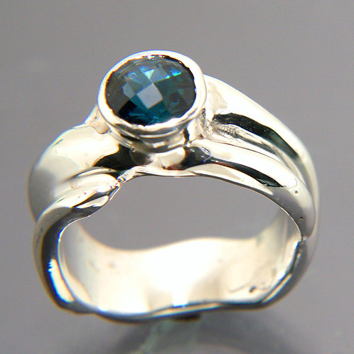 Sterling Silver Ring, Wavy design with London Blue Topaz