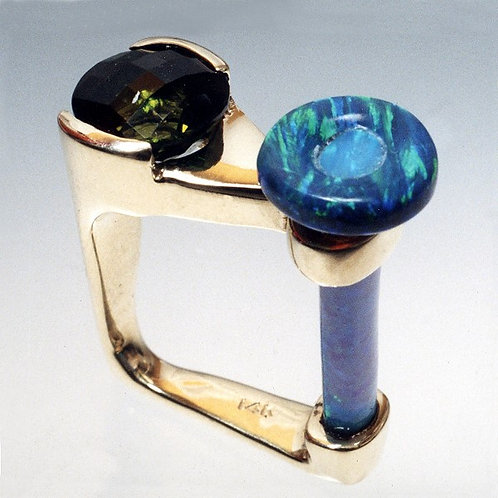 Gold Ring with Green Tourmaline and Opal Stem