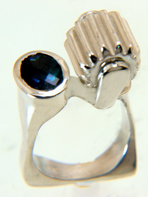Sterling Silver Ring with London Blue Topaz and moving barrel gear disk