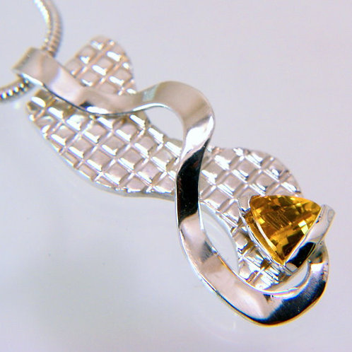 Sterling Silver Pendant with Trillion Cut Citrine