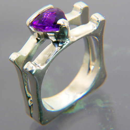 Sterling Silver ring with open double band and trillion Amethyst